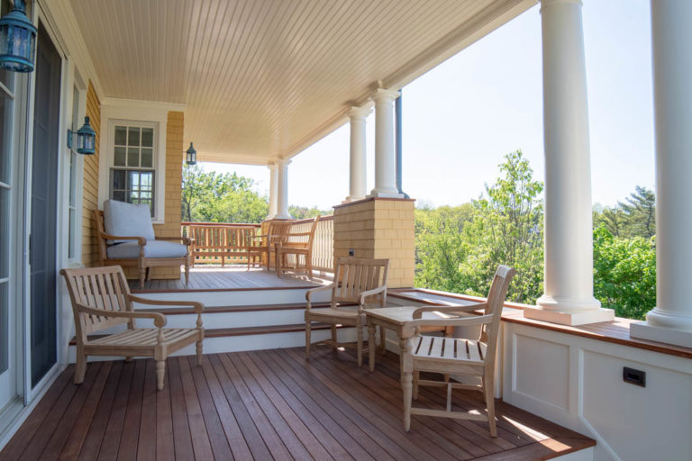 Ogunquit, Maine oceanfront custom home by Don Madore custom home design and construction. Atlantic ocean view porch.